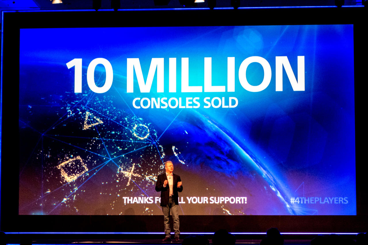 PlayStation boss Jim Ryan on stage at Gamescom this week