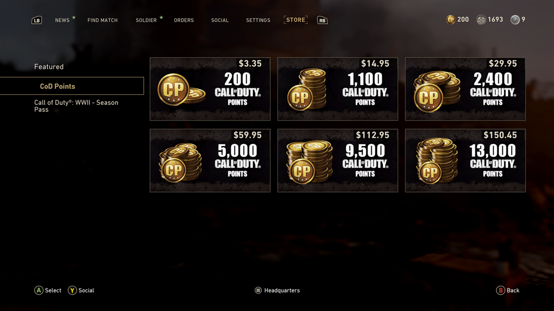 Call of Duty: WWII microtransaction pricing for Australia