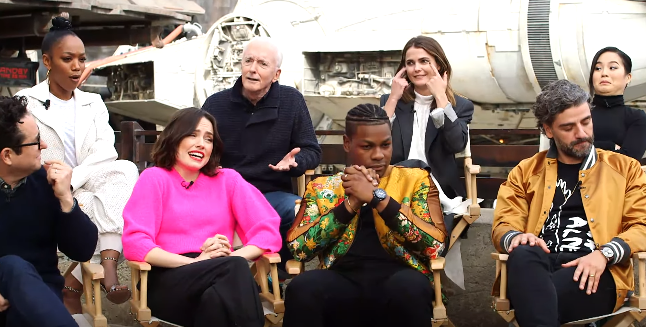 The cast of The Rise of Skywalker when asked to respond to the ending with facial expressions
