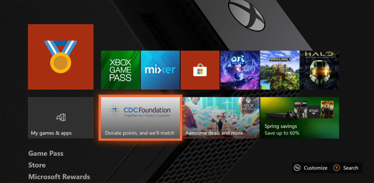 The new Xbox One home screen showing the donation tile