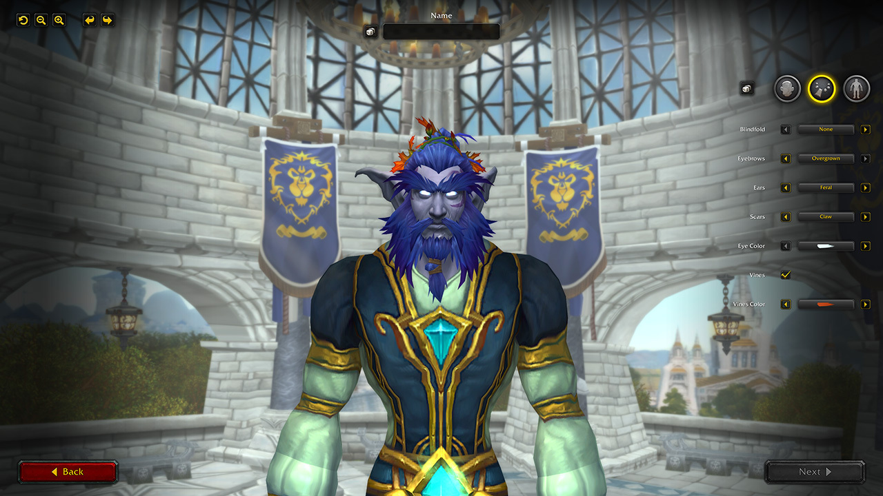 The updated WoW character creation screen