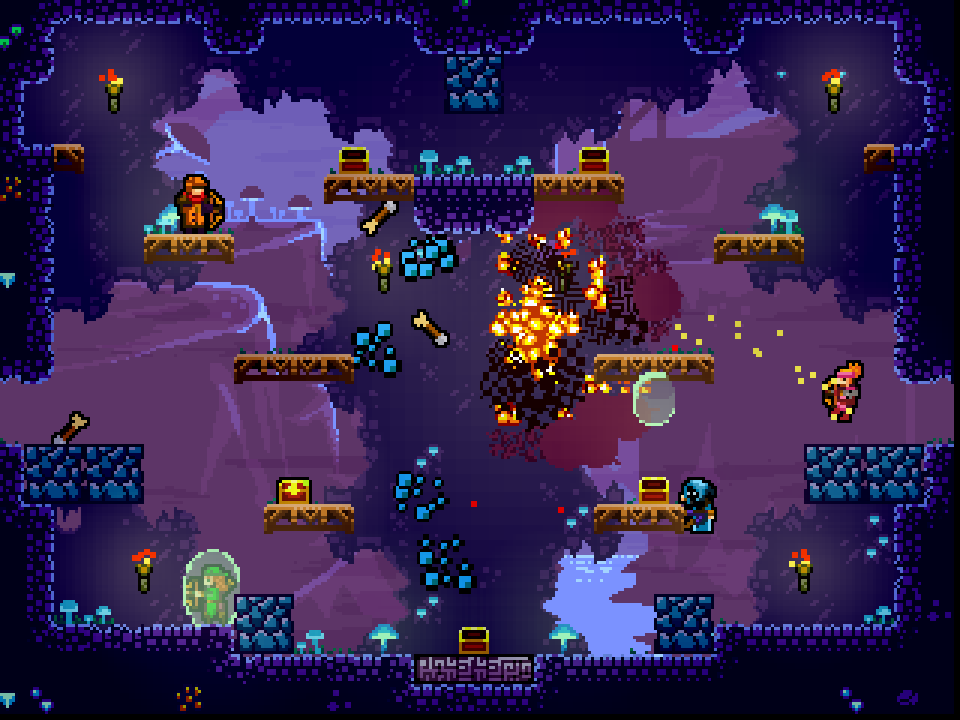 Towerfall Ascension's stages have great variety in their layouts and the sorts of traps and other hazards they offer.