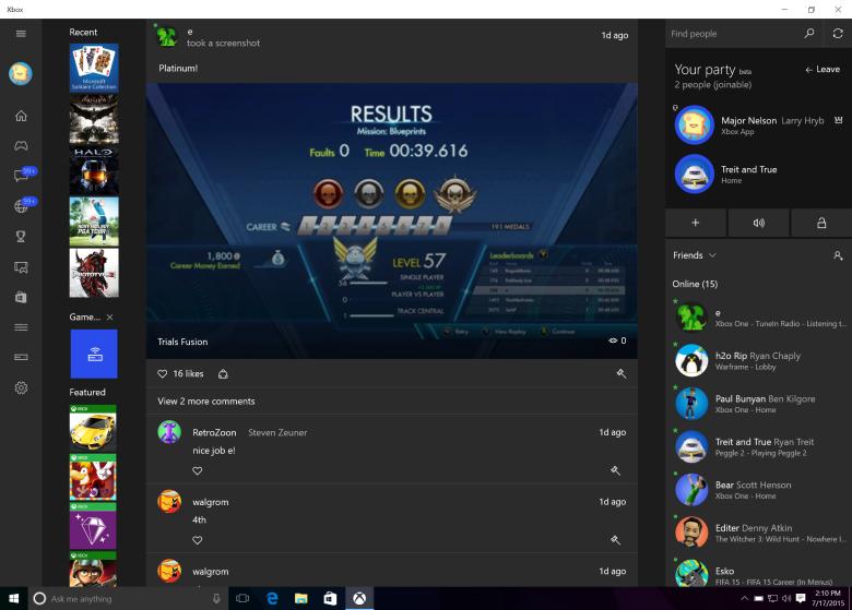 Windows 10's Xbox app