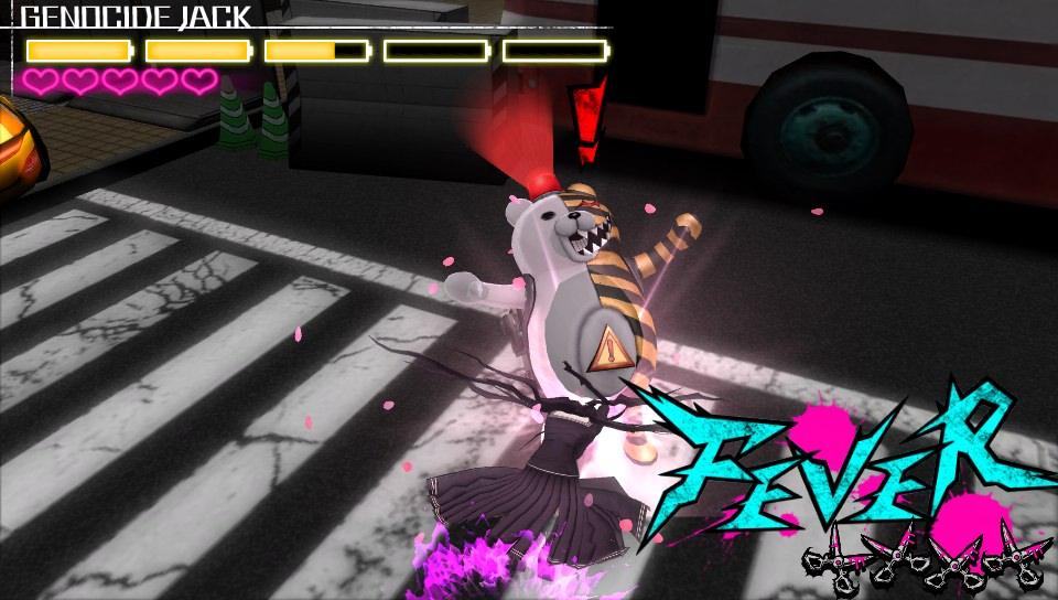 A deadly Monokuma robot in action.