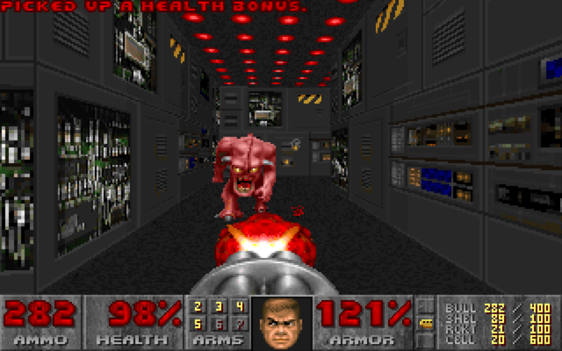 Talk about readable enemies: Doom's bright pink demon, called Pinky, was unmistakable even in a crowd.