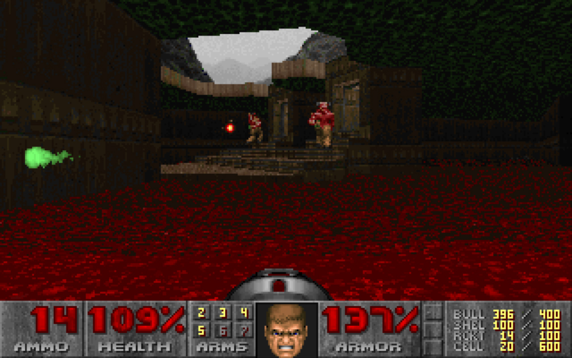 The Barons of Hell had a lot of health and threw rapid projectiles, requiring you to dance between them and return fire.