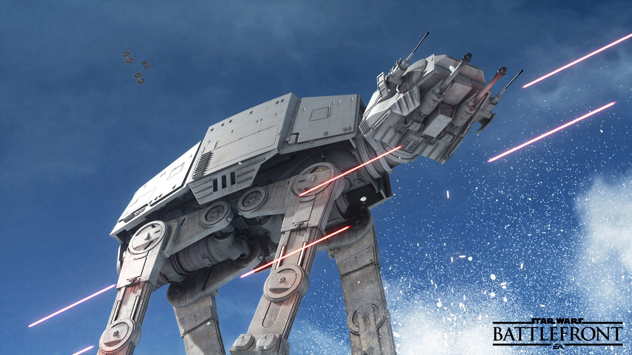 In Battlefront, players can pilot a whole range of Imperial and Rebel vehicles, including the AT-AT.