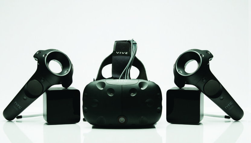 HTC's Vive Pre, featuring a new front-facing camera and controllers.