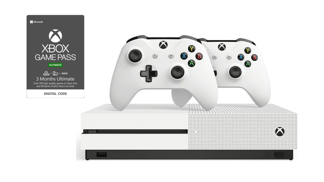 Xbox One S bundle with two controllers and three months of Xbox Game Pass Ultimate - $100 off