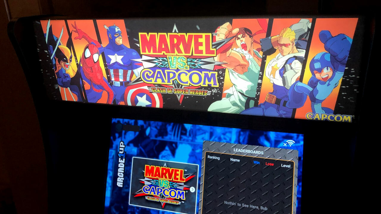 Marvel vs. Capcom Arcade1Up cabinet's light-up marquee