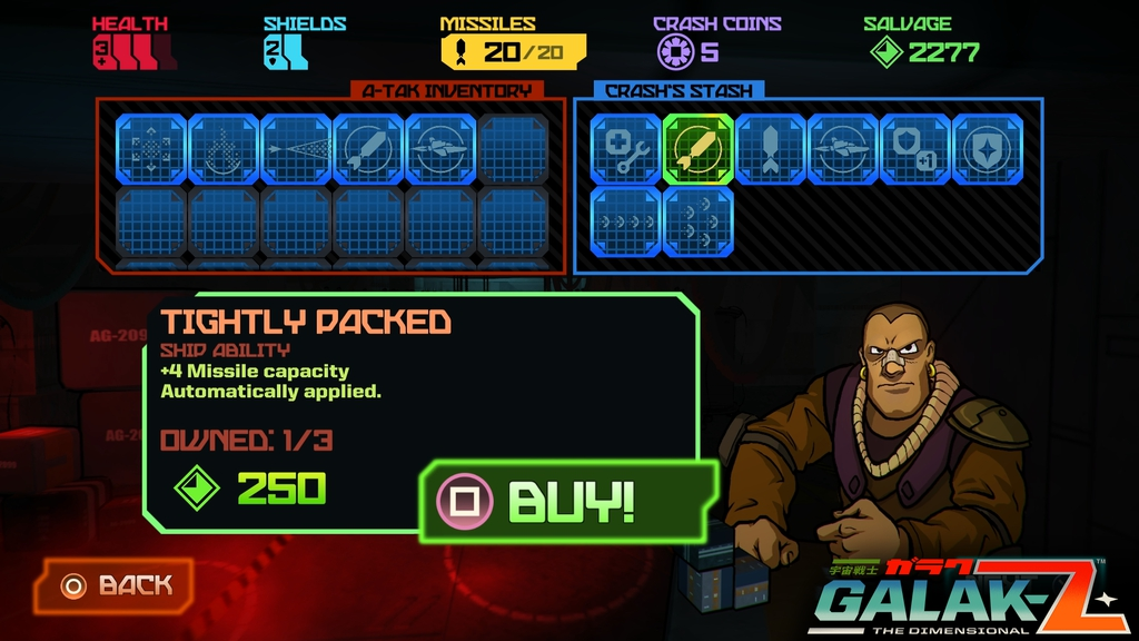 Exploring abandoned space hulks will unlock permanent items in Crash's shop.