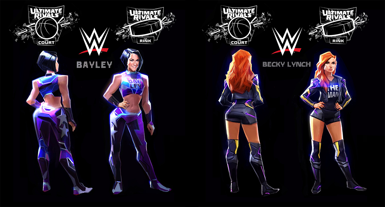 Concept art for Bayley and Becky Lynch in Ultimate Rivals: The Court