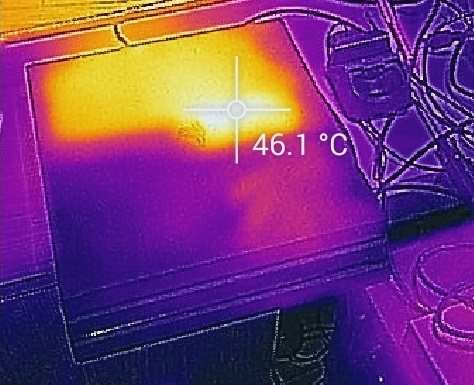 The heat signature was captured with a Flir One thermal imaging camera.