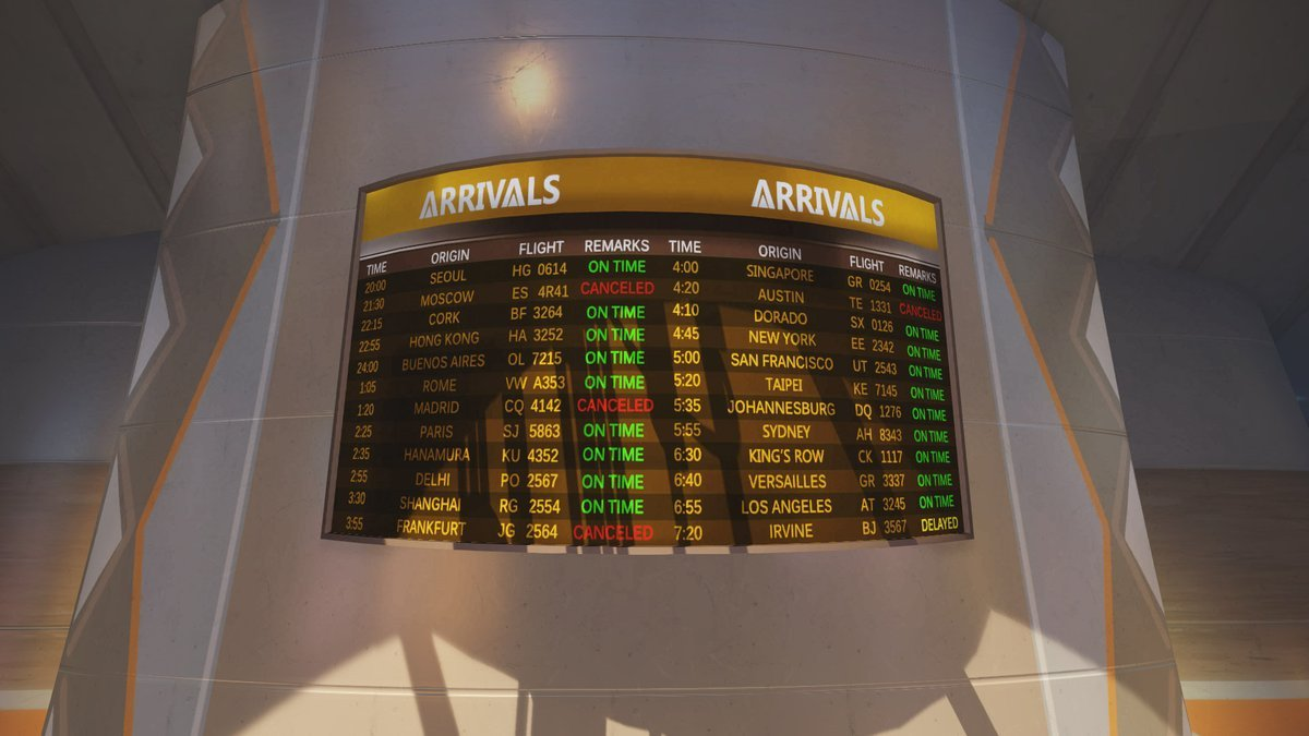 Updated Numbani arrivals board, PVP Live.