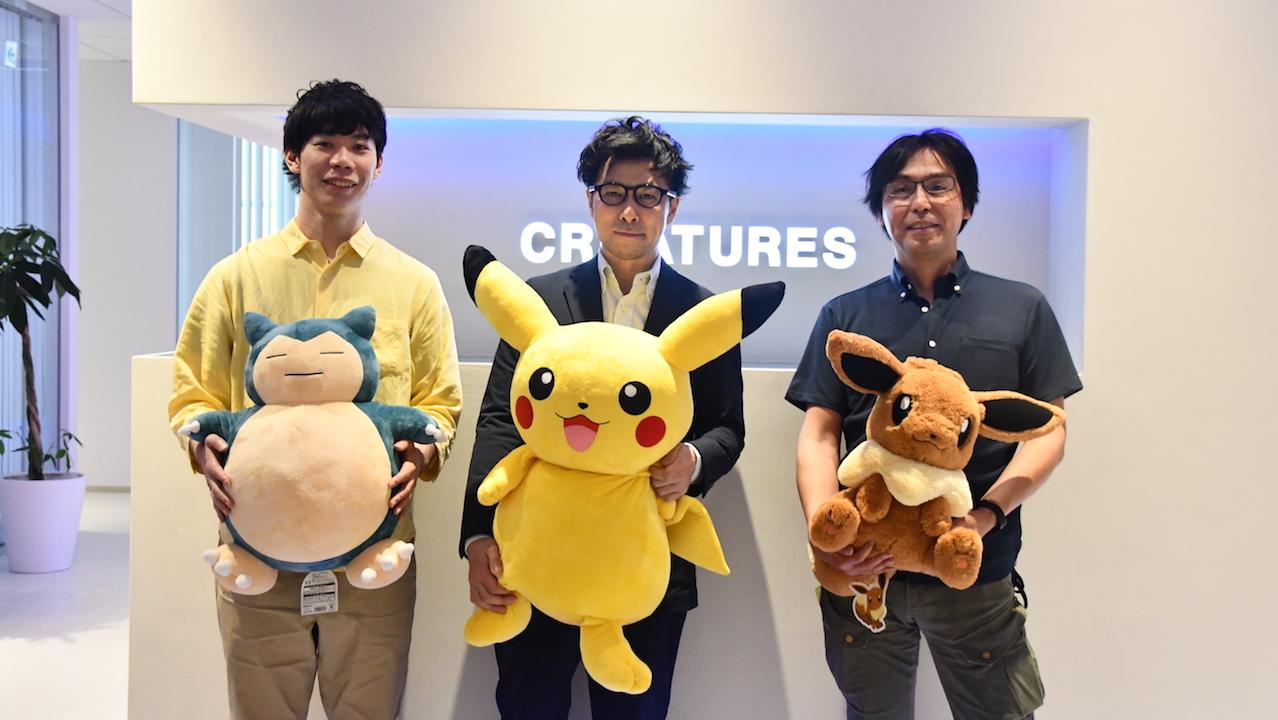 Inoue, Nagashima, and Arita in the Creatures lobby.