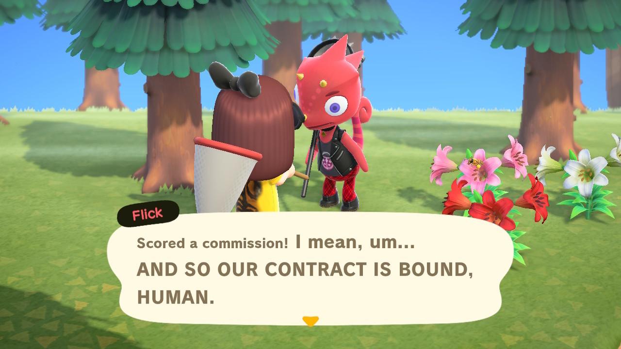 Flick in Animal Crossing: New Horizons.