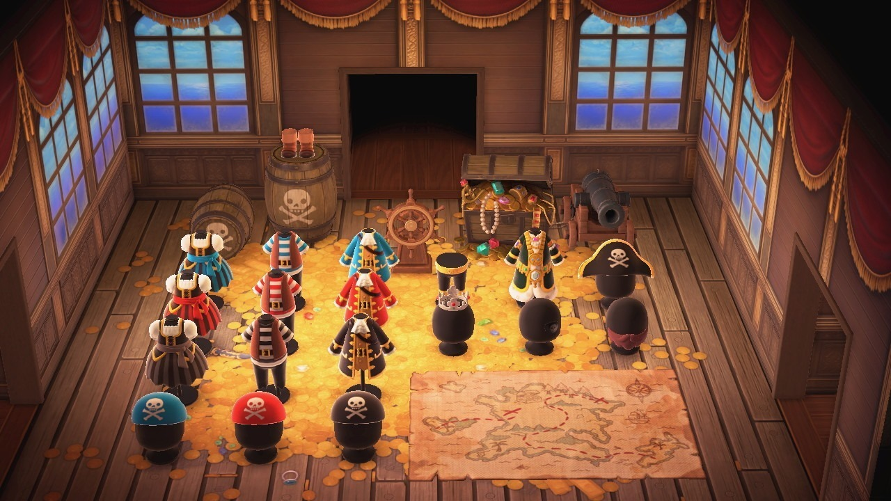 All the pirate items in Animal Crossing: New Horizons, including all three color options for the pirate dress (far left), pirate outfit (middle), sea captain's coat (right), and pirate bandanna (bottom).