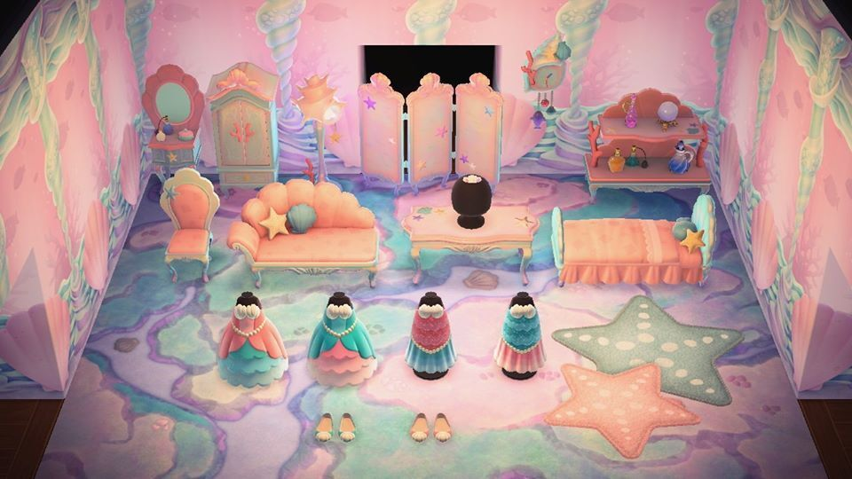 All the mermaid items in Animal Crossing: New Horizons. The wallpaper, flooring, rug, and furniture are all DIYs; the tiara (which is on the table), the four dresses, and the two shoes are regular items.