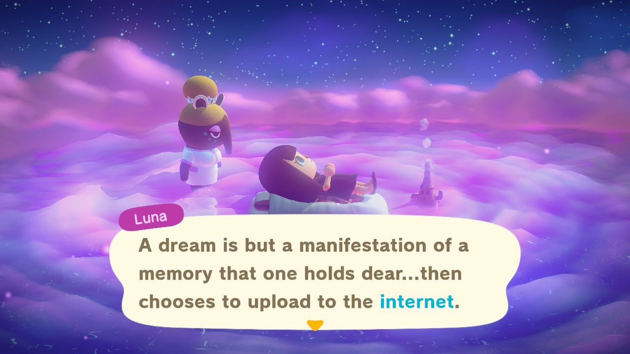 Luna explaining the basics of dreaming in Animal Crossing: New Horizons.