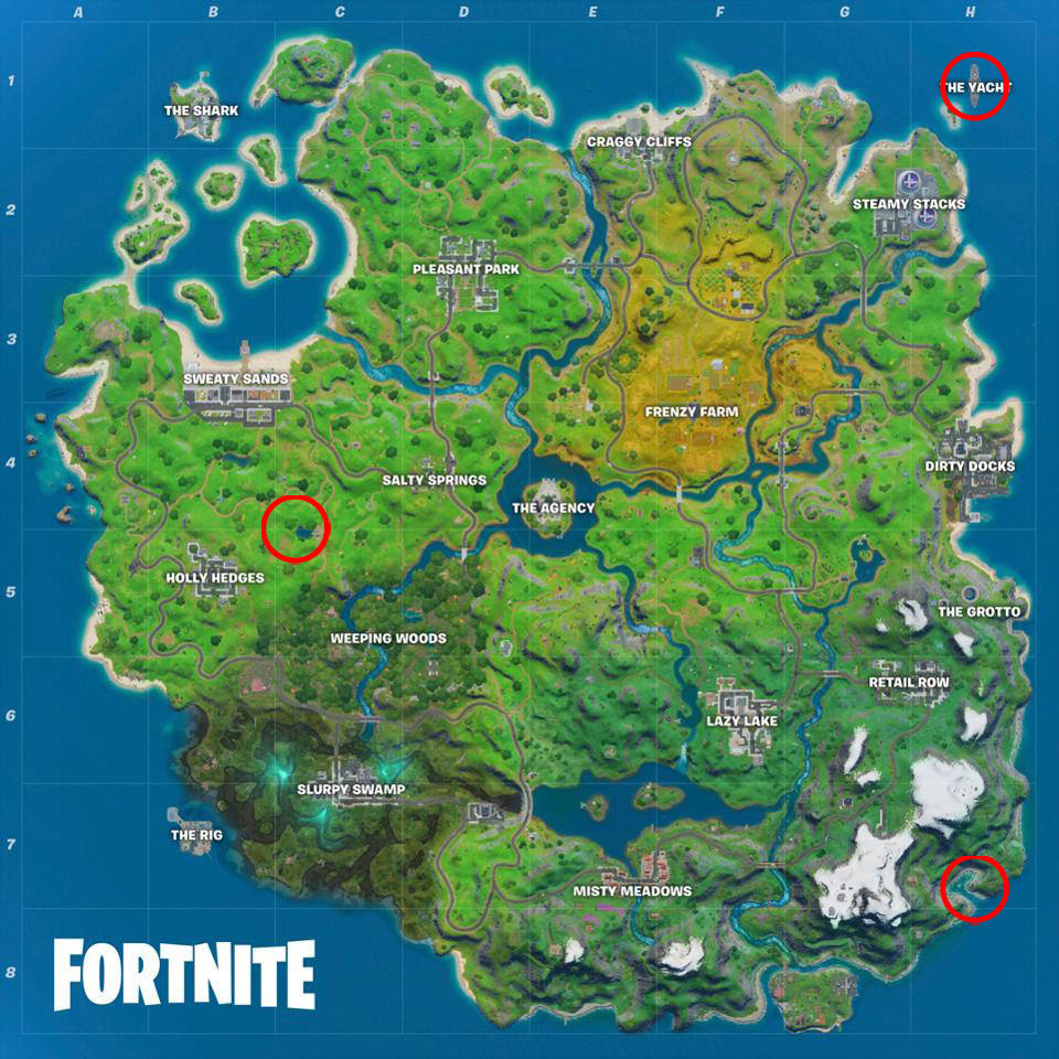 Fortnite Shipwreck Cover, Flopper Pond, and Yacht locations