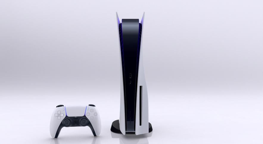 An upright PS5 and DualSense controller.