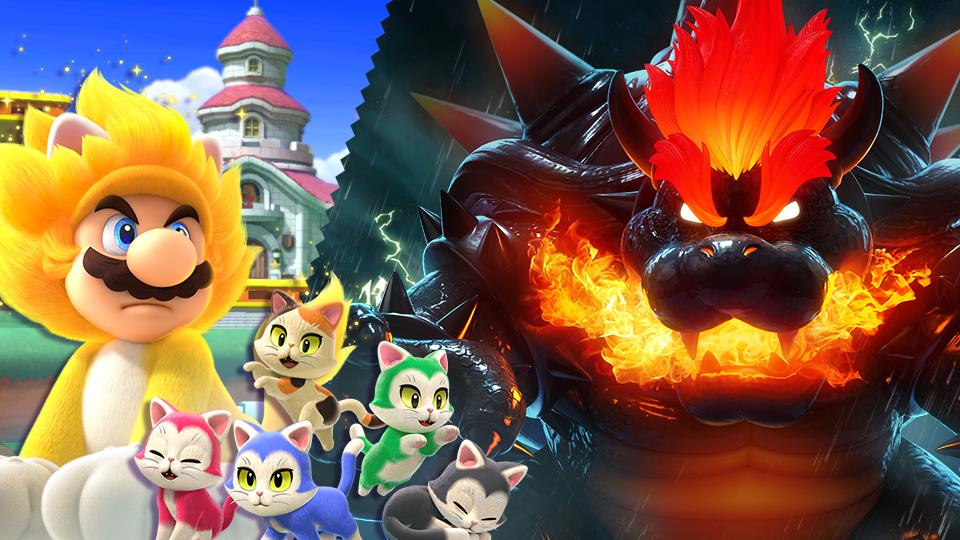Giga Cat Mario, Fury Bowser, and Kittens Spirits