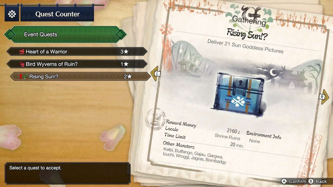 The Okami Event Quest is a two-star mission set in Shrine Ruins