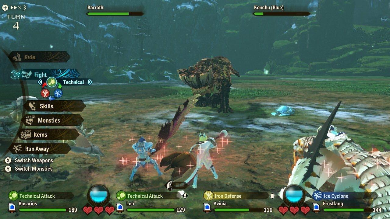 Monster Hunter Stories 2 tem uma abordagem mais tática para o combate em comparação com outros jogos, permitindo que você escolha seus ataques e movimentos de apoio em encontros baseados em turnos.