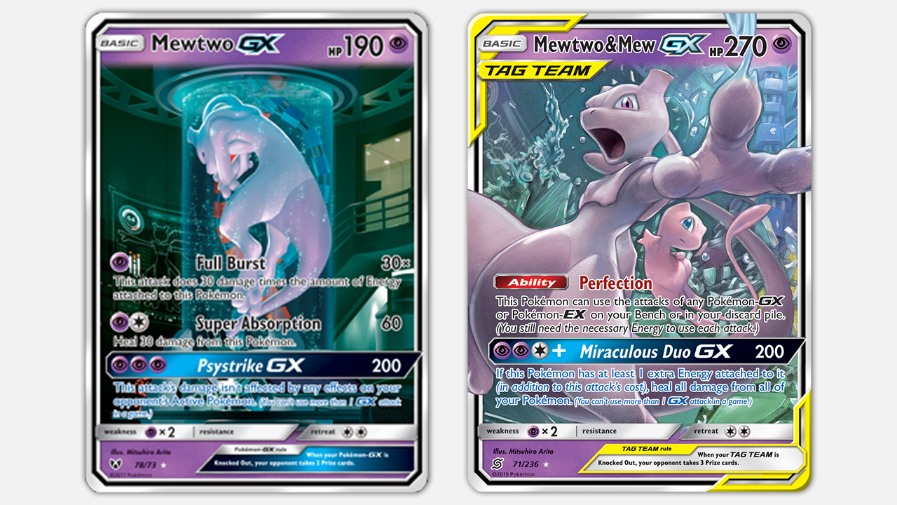 Left: Mewtwo-GX from Shining Legends. Right: Mewtwo & Mew-GX from Tag Team