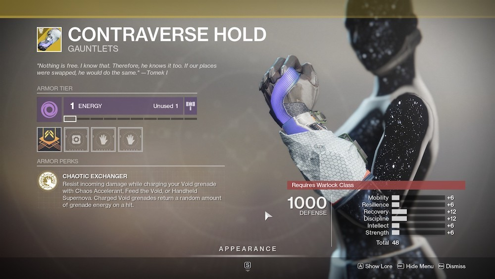 It might have gotten nerfed, but Controverse Hold is still a powerful PvP Exotic for Warlocks.