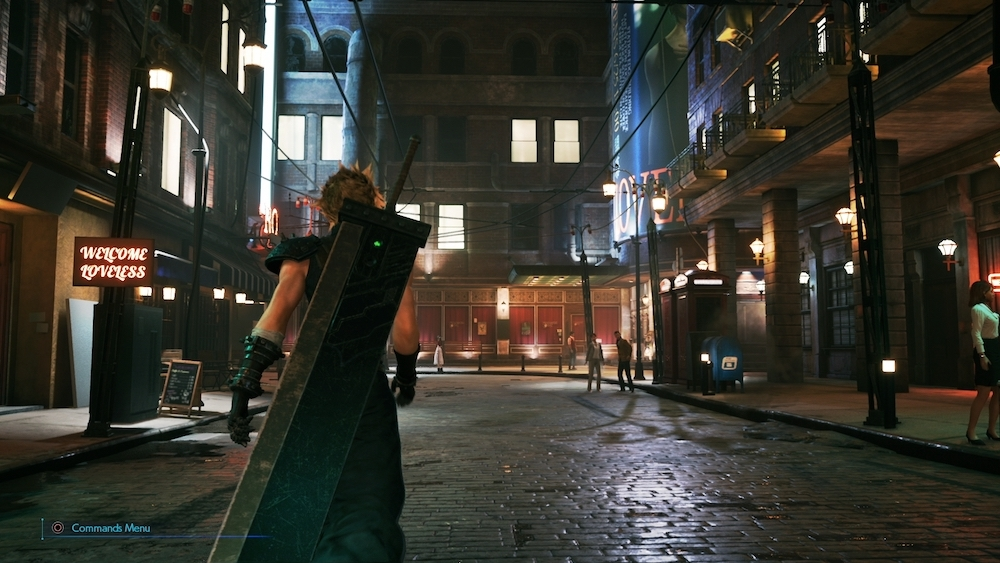 The affluent streets of Midgar are a dangerous place for Cloud throughout Chapter 2.