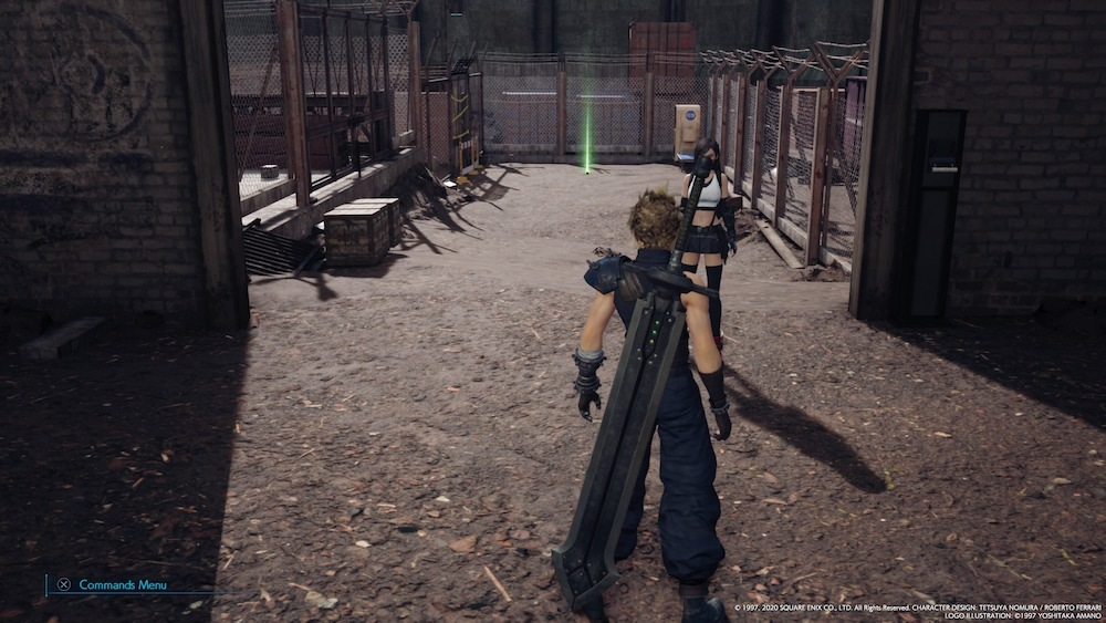 Use the switches to the right of the shutter doors to open them up and reveal pathways to crates, chests, and a Fire Materia.