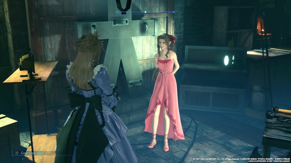 Aerith goes with a pink dress if you do half the available side-quests in Sector 5.