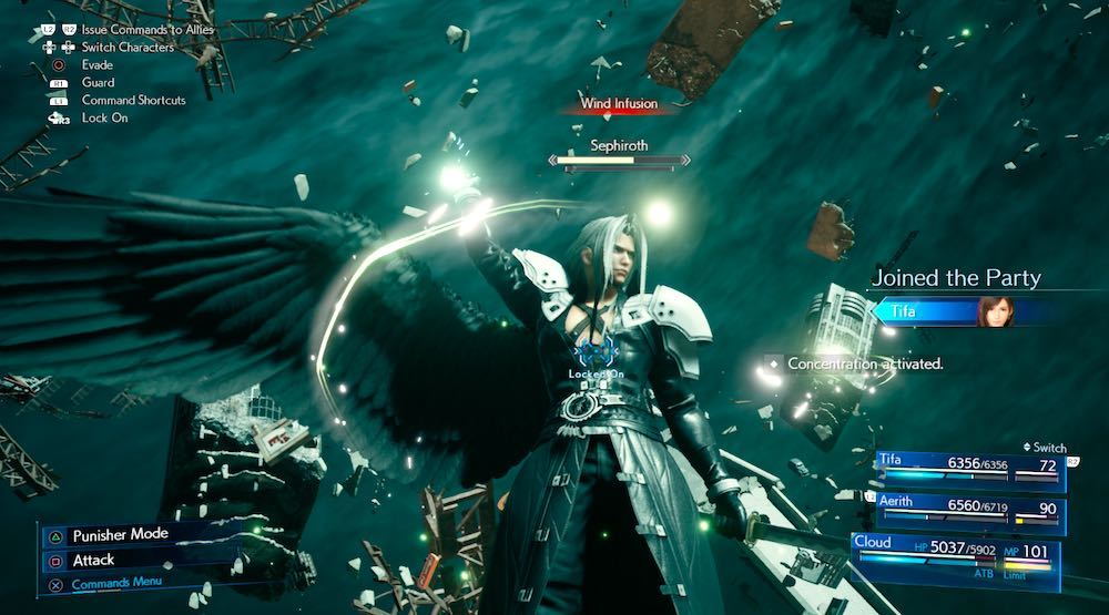 Hit Sephiroth with spells opposite to his magic infusions to knock him down, opening him up for damage and driving up his stamina meter.