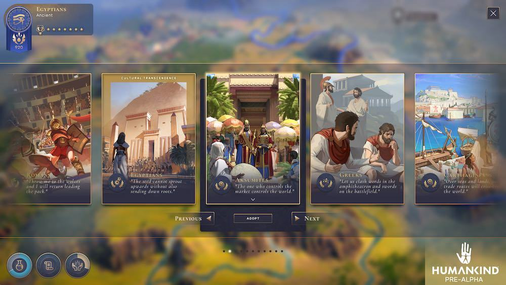 Evolving your civilization through the eras by choosing new cultures allows you to stack different benefits that synergize, or change your society's focuses to adapt to changing situations.