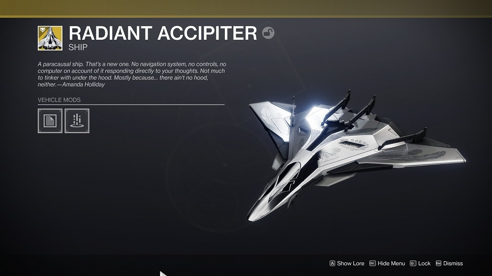 You'll get the Radiant Accipiter in your inventory once you've interacted with that last prompt.