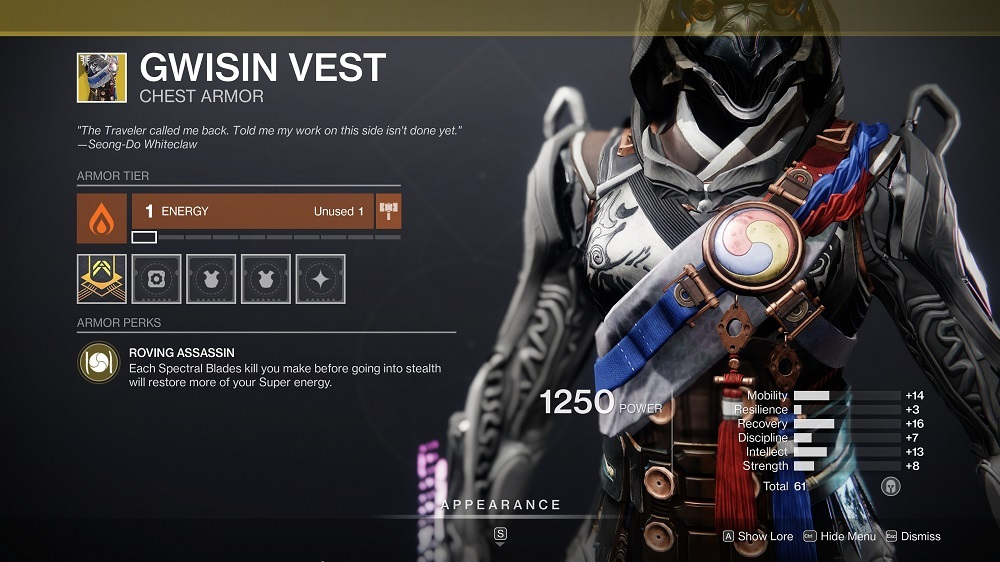 You get more Super energy after killing enemies with your Spectral Blade and then vanishing like a ninja, making Gwisin Vest great for use in the Crucible.