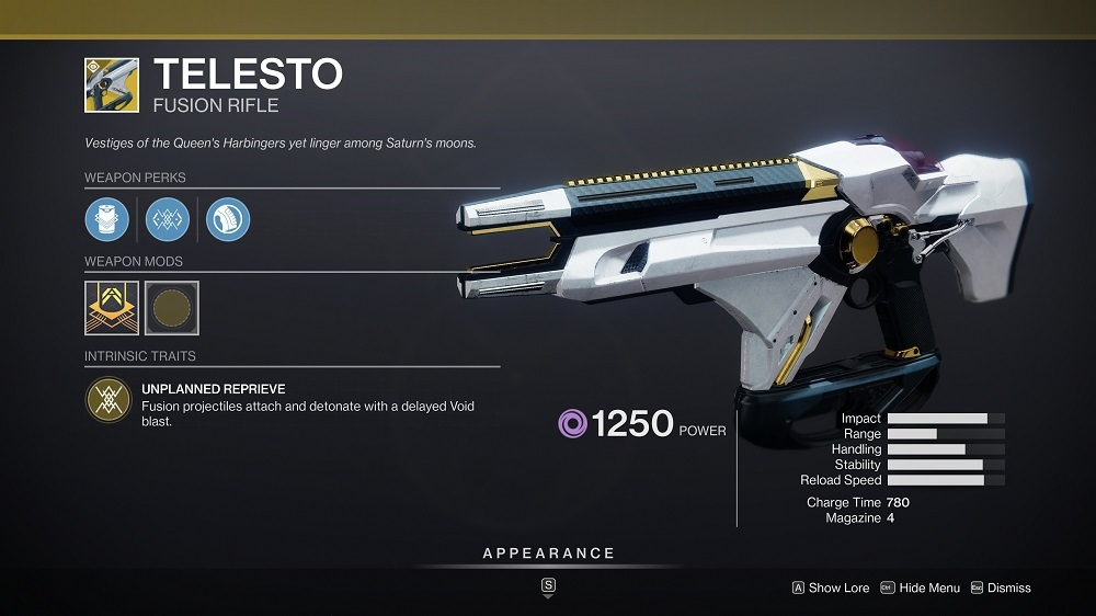 Telesto has long been a favorite in both the Crucible and PvE, thanks to the high effectiveness of its exploding projectiles.