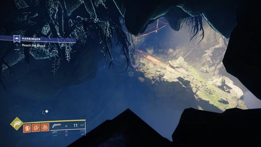 Your path through the Hallowed Rift should take you to this well-lit platform with the catwalk above it; look for the feather before you move on.