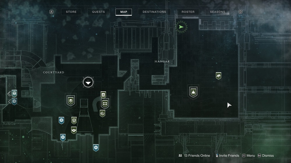 Xur stands on the catwalk looking over the Tower's Hangar, way at the north end of that area.