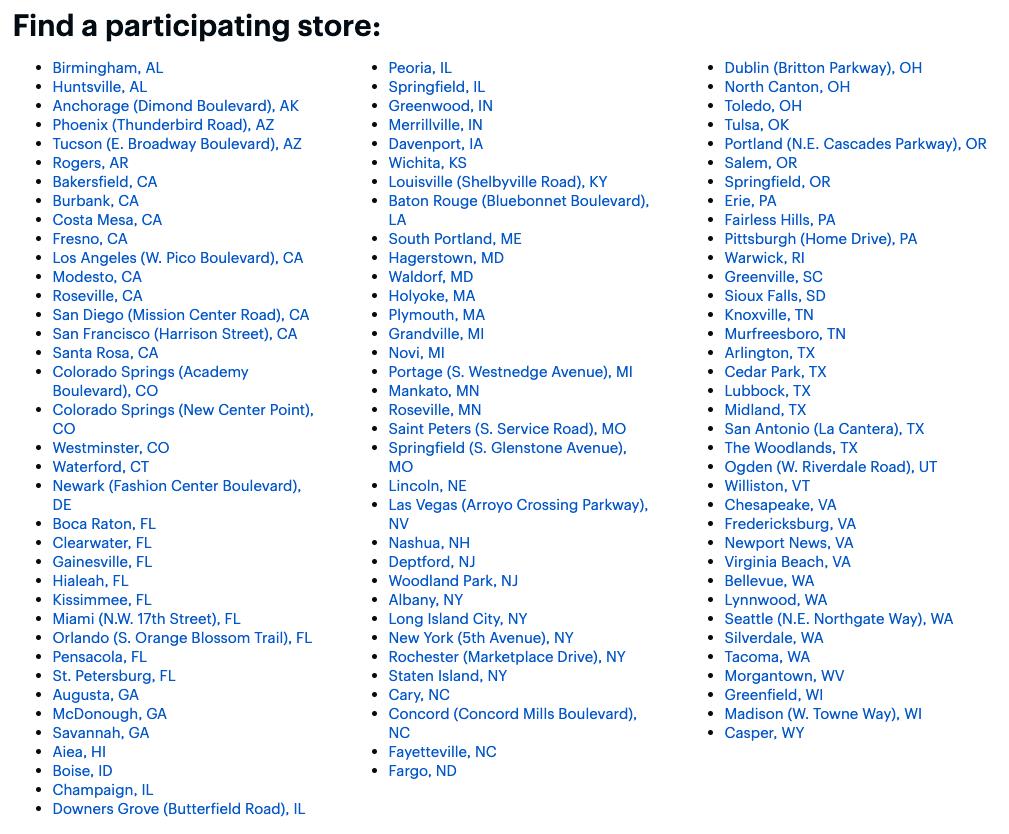 Lojas participantes da Best Buy