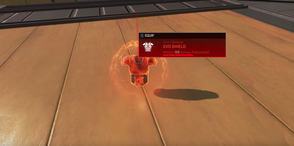 At full strength, the Evo Shield is red. Though it can take more hits than a legendary gold body shield, a red Evo Shield does not provide the faster healing item usage perk.