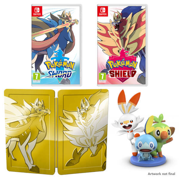Pokemon Sword and Shield dual pack with golden steelbook and figurine - available in UK