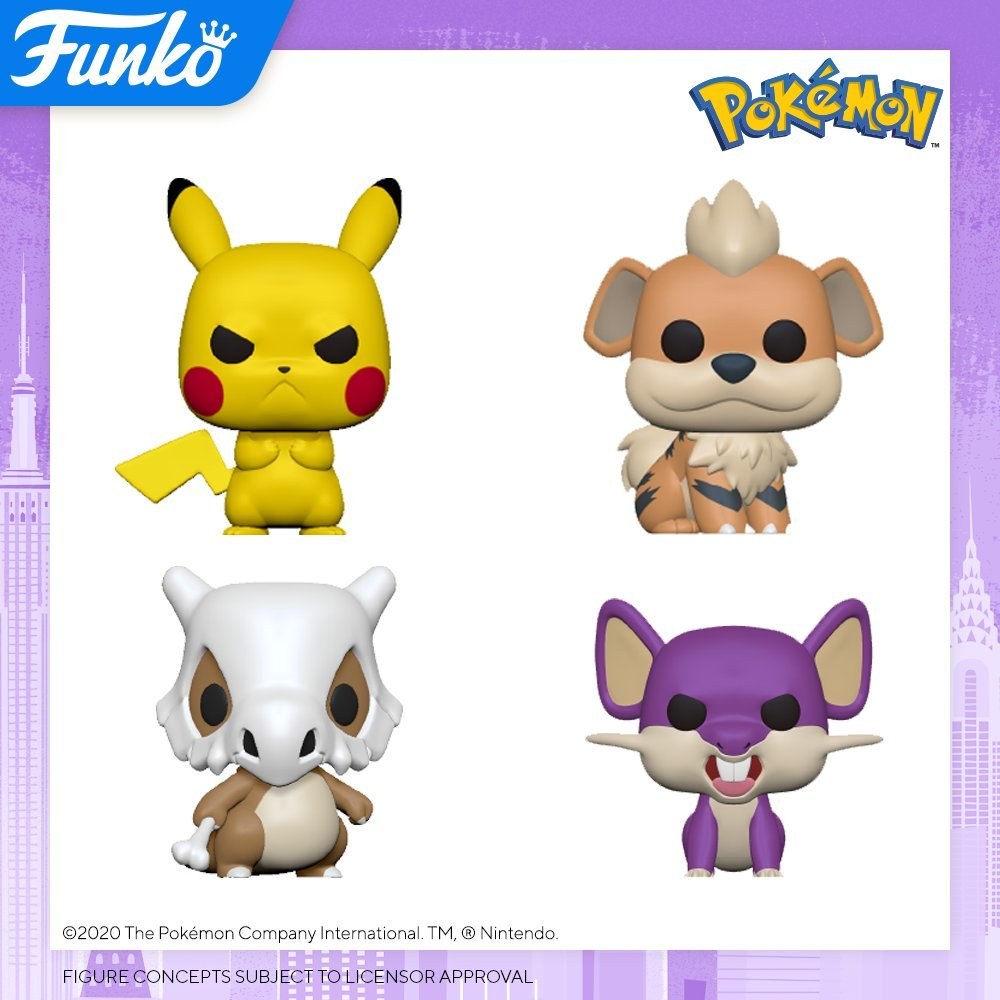 Pokemon Funko Pops: Pikachu, Growlithe, Cubone, and Rattata
