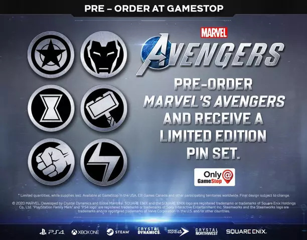 Exclusive limited-edition pin set for Marvel's Avengers