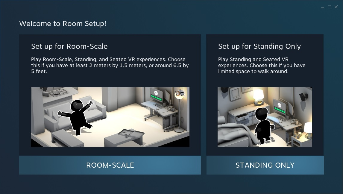The Room Setup window in SteamVR.