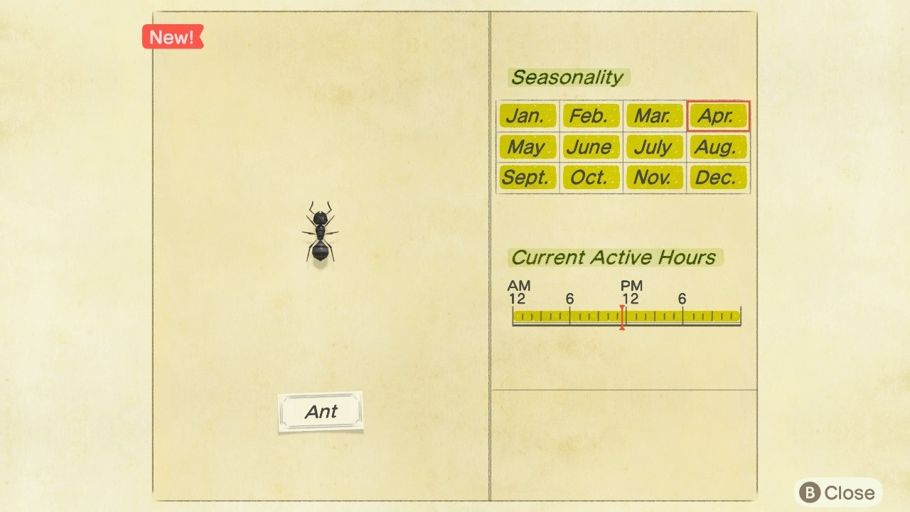An ant in Animal Crossing: New Horizons.