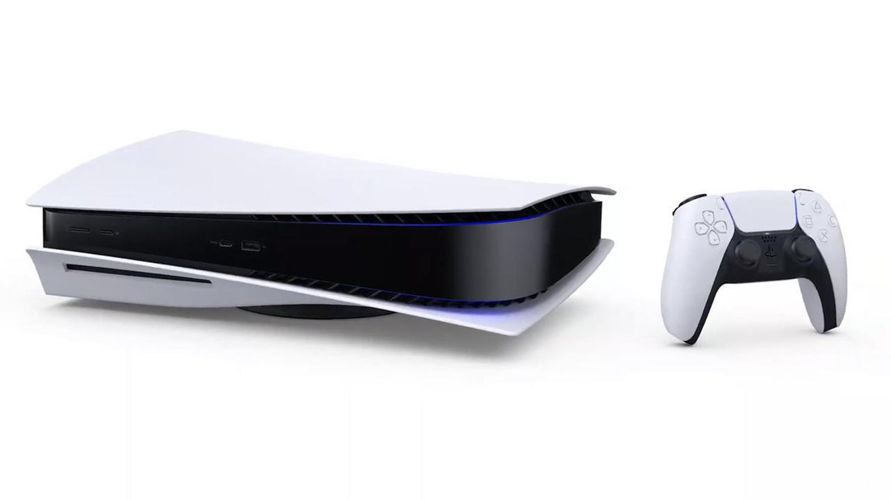 The PS5 lying flat on its side next to a DualSense controller.