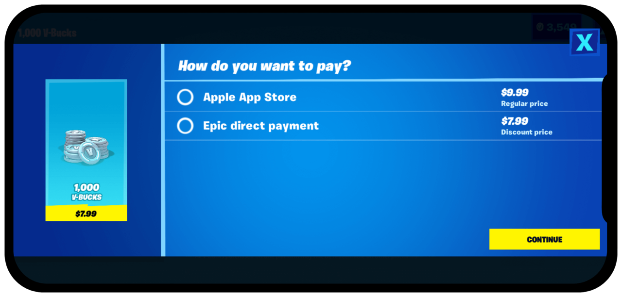 Fortnite's new direct payment method on iOS devices, prior to App Store removal.