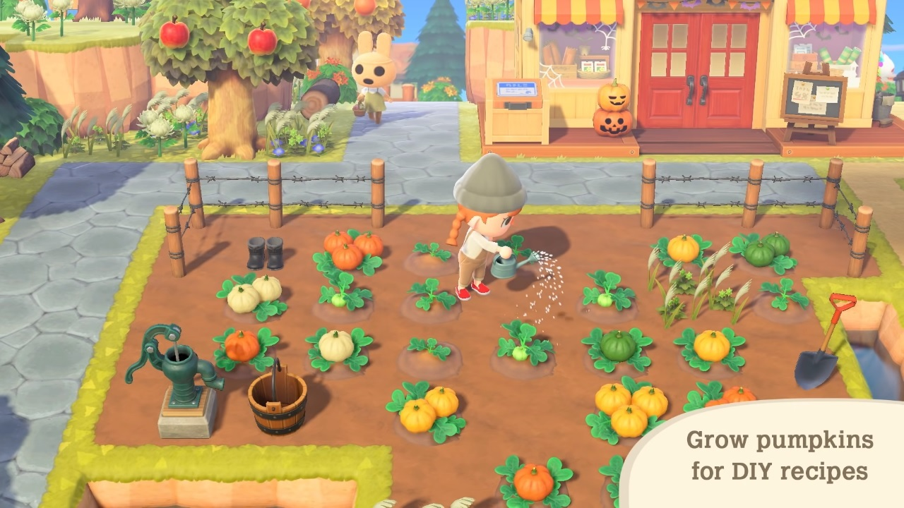Watering a pumpkin patch in Animal Crossing's new Halloween update.